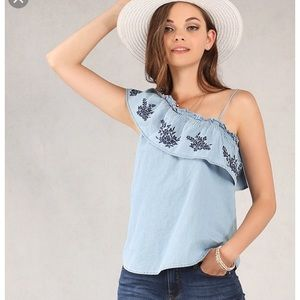 One shoulder top with embroidery